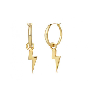 Trendy Women Stainless Steel 14K Gold Plated Mini Small Hoop earrings Lighting Charm Hoops