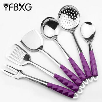 Purple Mosaic Bakelite Plastic Handle Stainless Steel Kitchen
