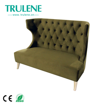 Europe Promotion High Back Sofa Set Fabric High Density Sponge Solid Wood  Leg Restaurant Tufted Velvet Sofa Chair - Buy Tufted Velvet ...