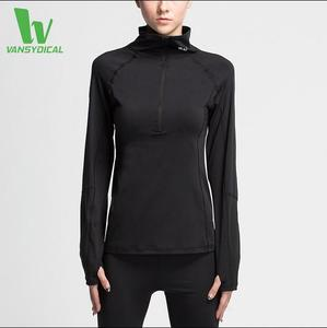 Women Running Shirt Black Zipper High-necked Windproof Thermal Fitness Tops Wear Wholesale