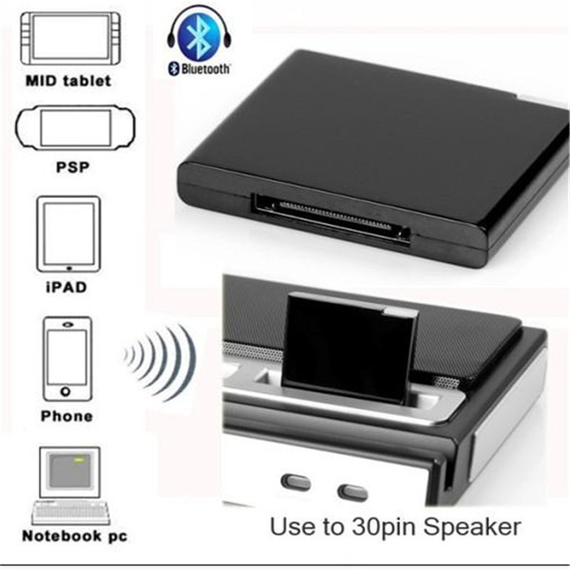 Brand New Wireless Bluetooth V2.1+EDR Class 2 A2DP+AVRCP Music Audio 30pin Receiver for iPhone for iPod for iPad Speaker Dock