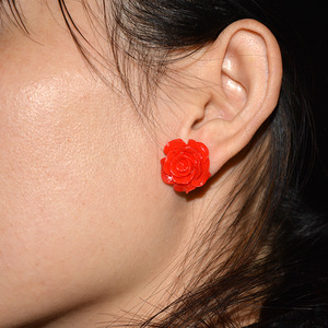 Cheap Resin Rose Flower Stud Earring Colorful Plastic Ear Studs Packing Tiny Earrings