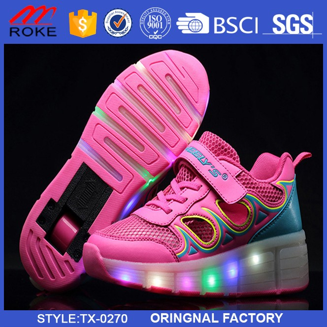 Led Light Running Shoes with Single Wheel LED Light Cool Flash Retractable Roller shoes USB charger shoes For Men and Women