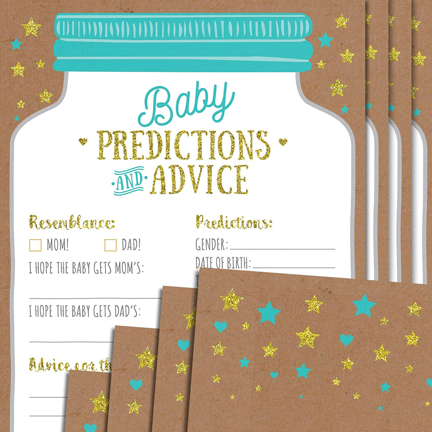 Baby Shower Prediction and Advice Cards - Gender Neutral Boy or Girl Baby Shower Games Baby Shower Favors