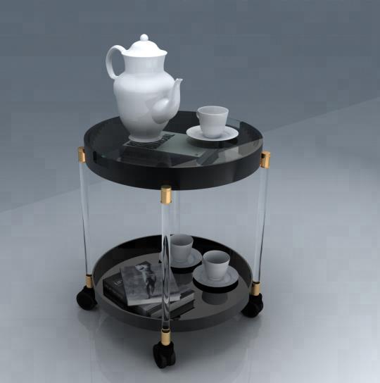 High leve acrylic tea or coffee table with wheels