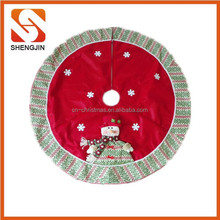 "SJ-6494 42"" Promotional christmas snowman fleece tree skirt xmas decoration"
