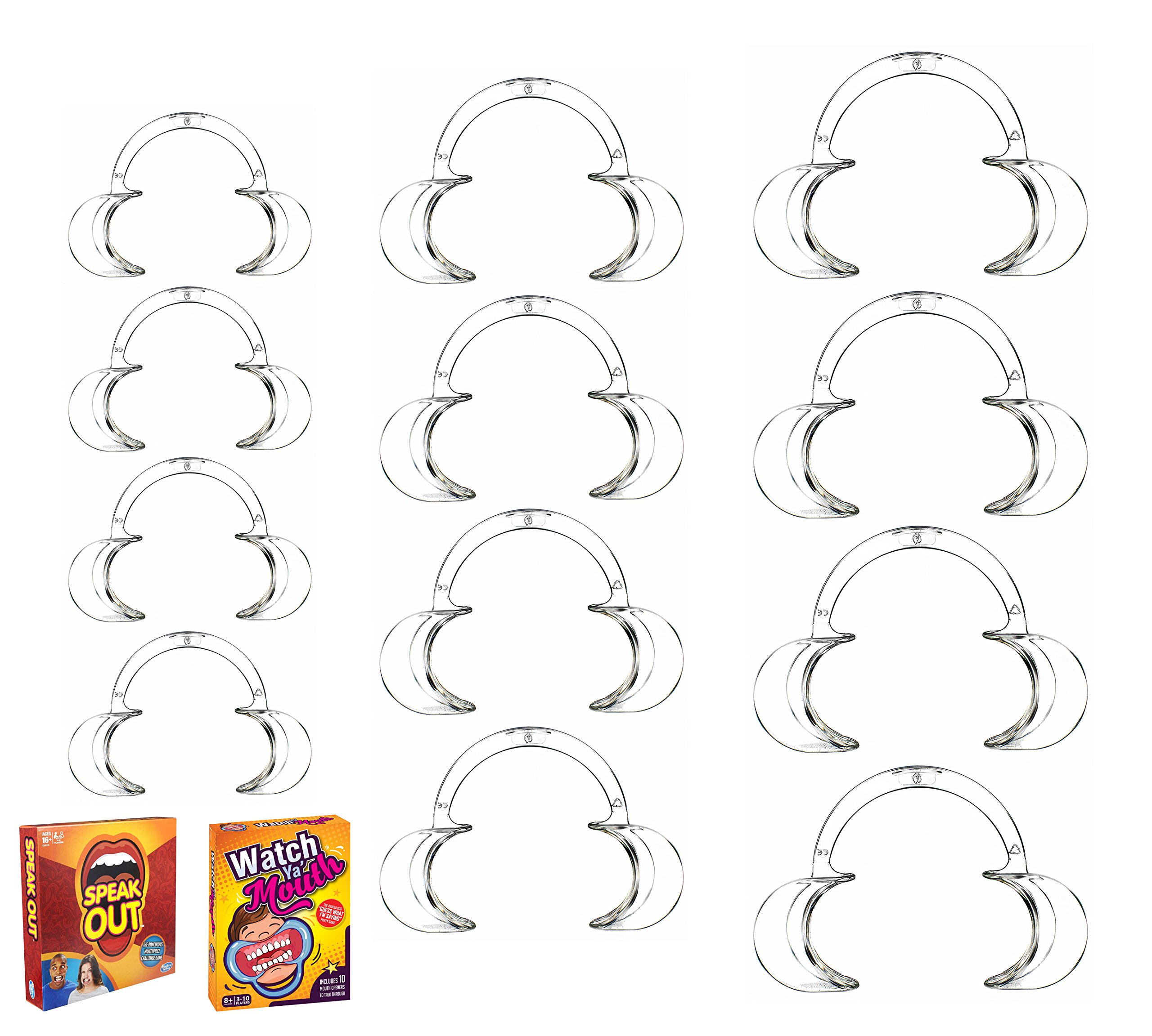 Dental Cheek Retractor Mouth Opener for Teeth Whitening Clear C-shape (Size 4 Small, 4 Medium, 4 Large), 12 Pack