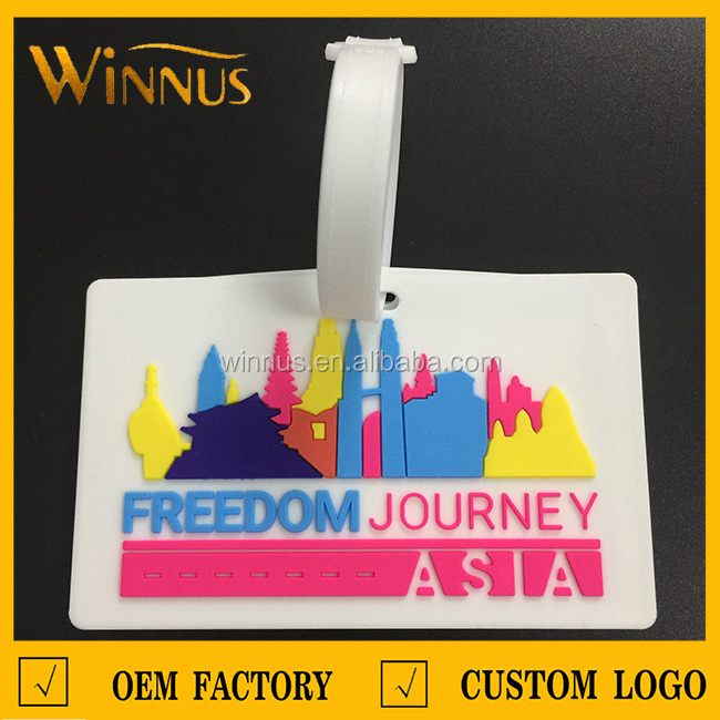 cheap promotional gift custom 3d embossed logo standard size rubber soft pvc luggage tag