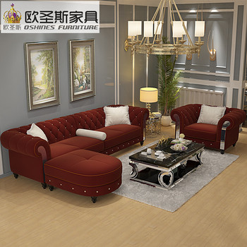 New Design Sofa Cloth Wine Red China Sofa 2016 Europe New Classic Crystal  Buttons Suede Fabric