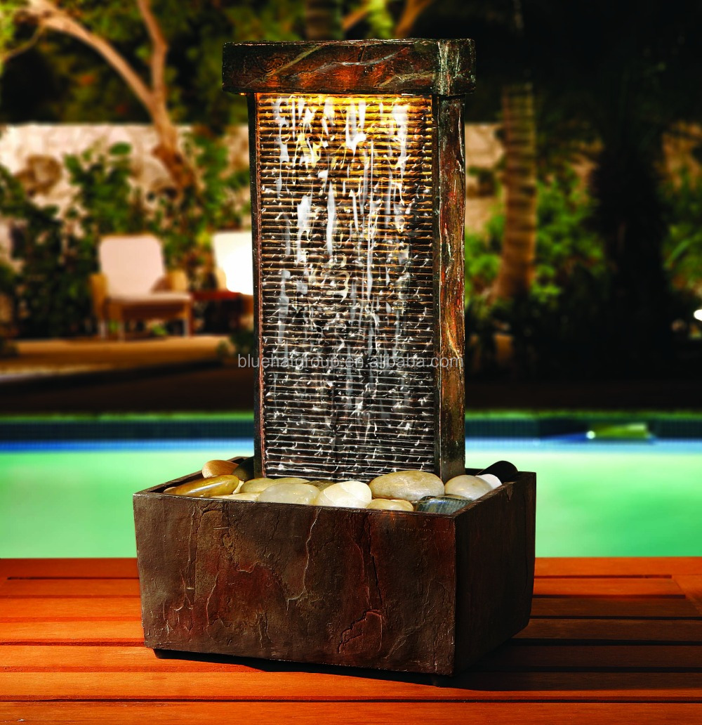 Modern Design Led Light Artificial Indoor Water Fountain - Buy ...