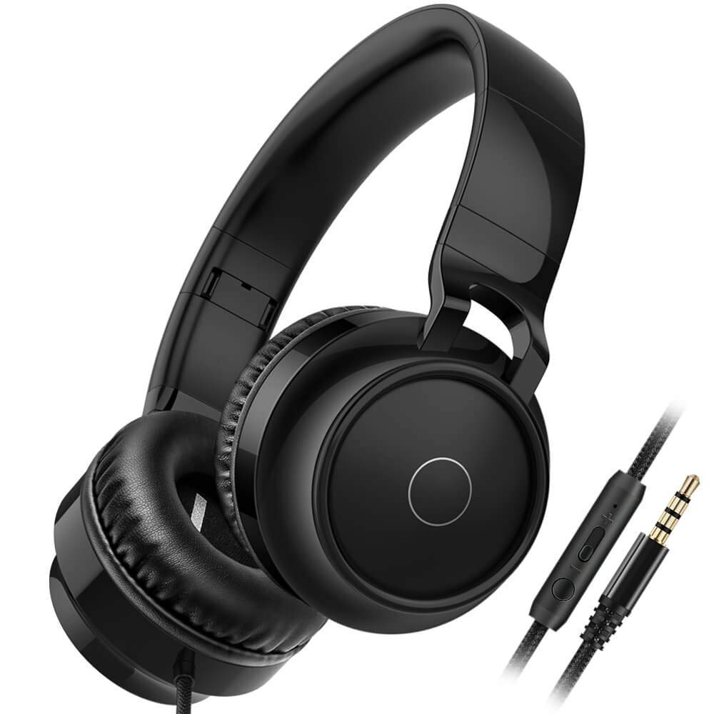 On Ear Headphone, Foldable Wired Headphones, Heavy Bass Stereo Sound, Lightweight Headsets USB & 3.5mm Jack with Microphone Volume Remote Control for Mobile Cellphone, Tablet, Computer, PC, Gaming