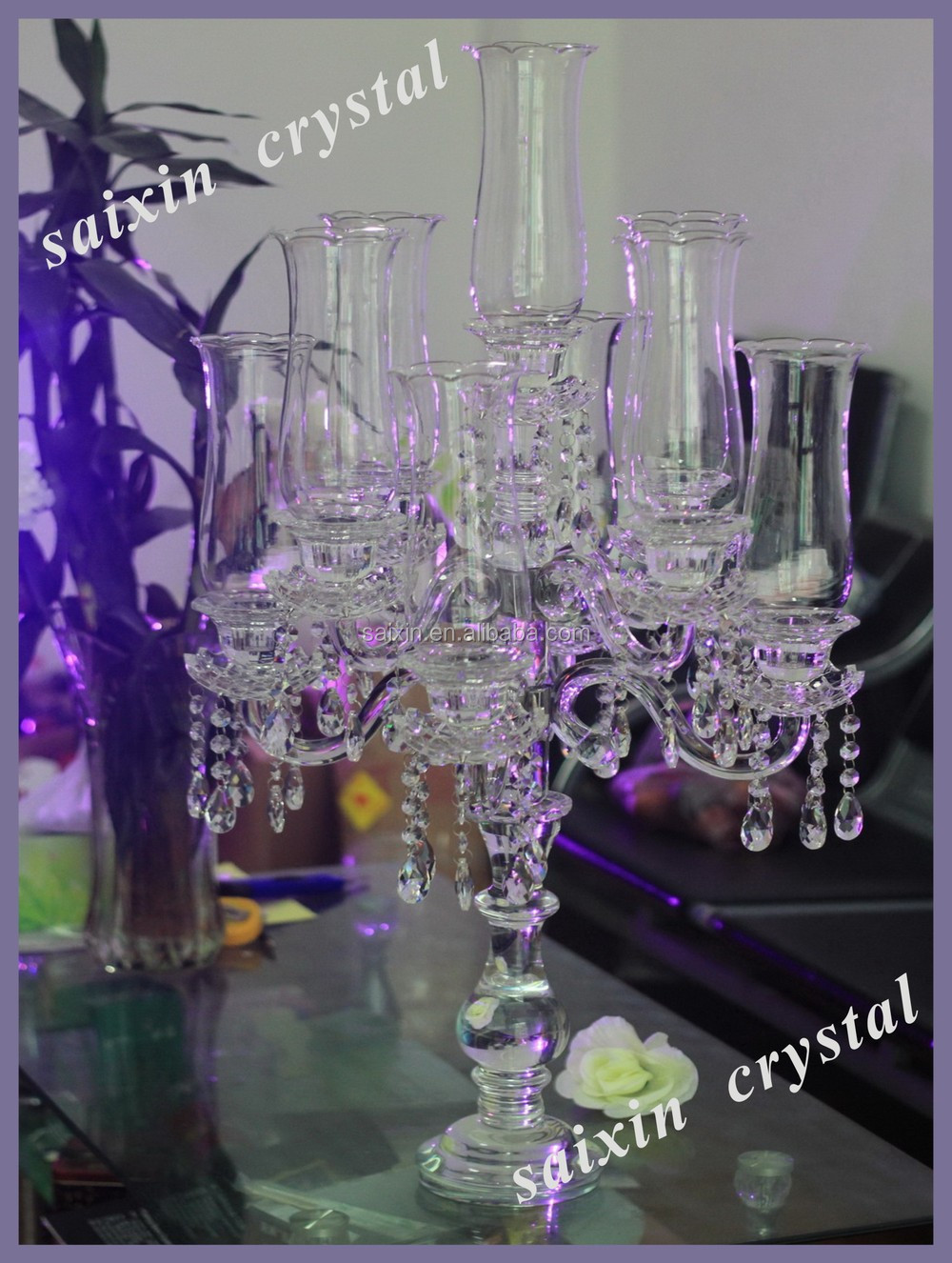 New bling crystal flower candle holders wedding table for Bling decor