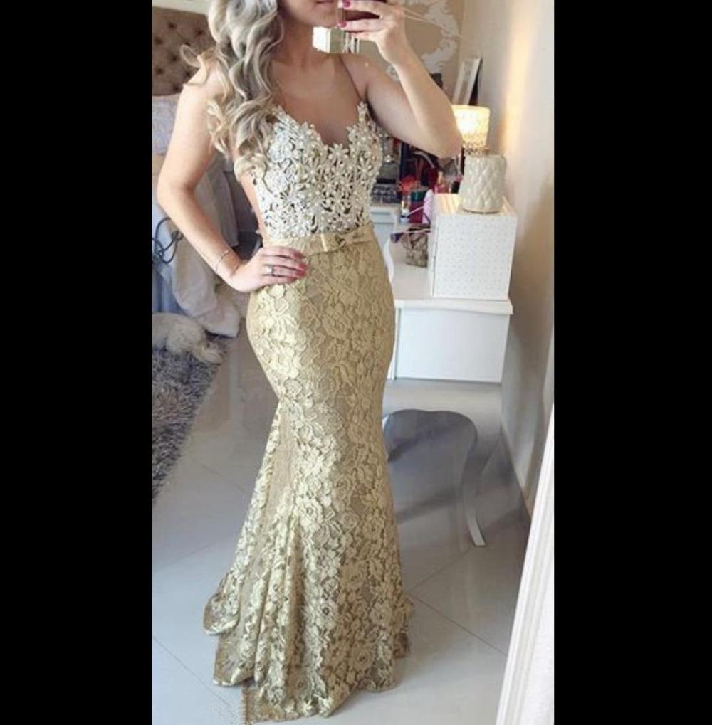White And Gold Prom Dresses 2016 Sheer Vestido De Noche O ...