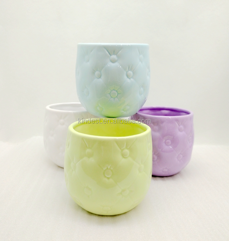 Promotional cheap glazed yellow/blue/purple ceramic flower pots