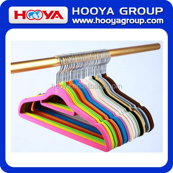23*0.5*42CM Classiscal Colourful Plastic Velvet Flocking Clothes Hanger in Candy Colour