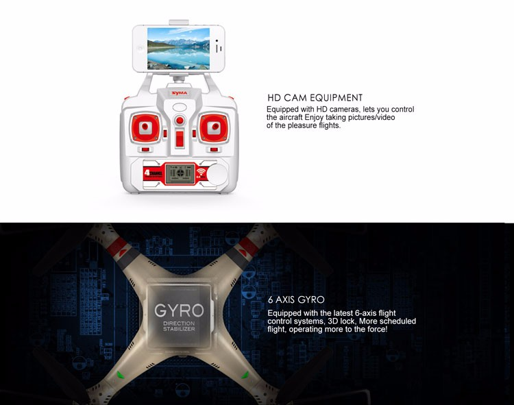 Syma 4Ch 2.4G 6-Axis Gyro Rc Drone Quadcopter Motor With Camera