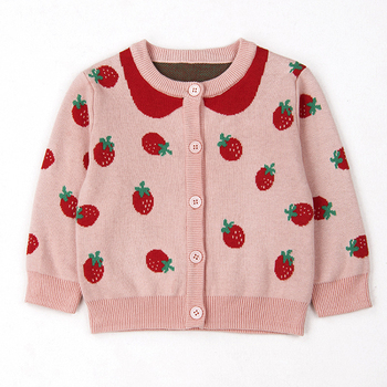 2020 new arrivals custom cute autumn infant baby girls fashion cardigan button kids toddler knitted sweater coat with strawberry