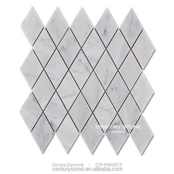 Cheap Polished Carrara White Diamond Shape Bathroom Floor Marble