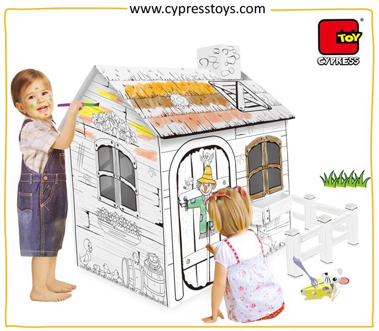 Hot Sale Educational Diy Painting Toys Cardboard Coloring Playhouse ...