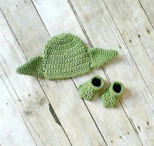 0-3M Newborn Infant Star Wars hat Shoes set Baby Yoda Hat Star Was Hat photography props Baby Clothing Baby Fotos