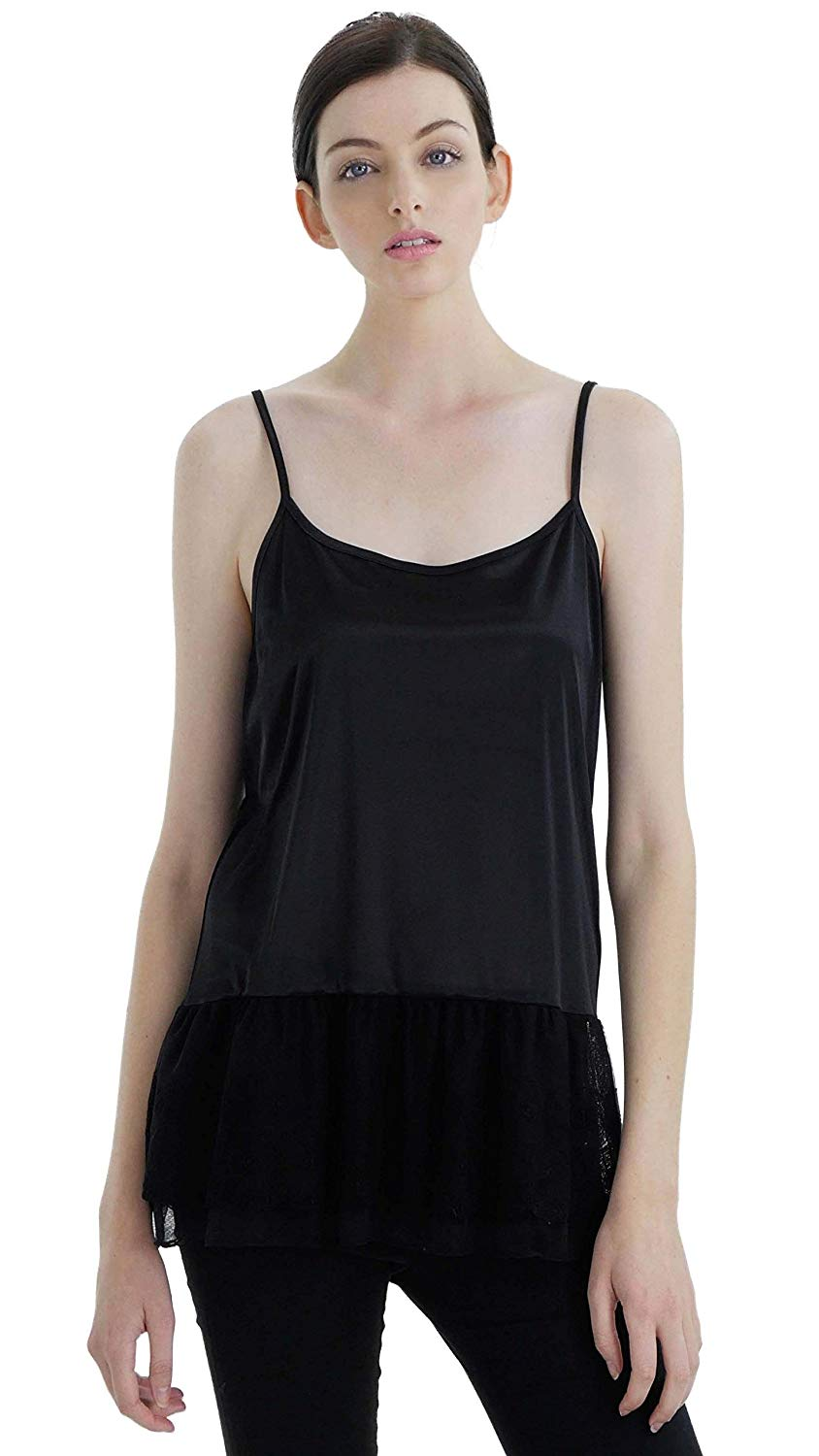 287ea19e94c8b Get Quotations · Melody Shop Lev Women's Satin Top Extender Camisole Slip  With Circle Lace On The Bottom