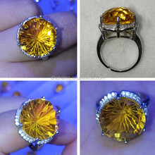 Natural crystal golden topaz Gemstone diamond/ring with 925 sterling silver ring , make you noble and elegant