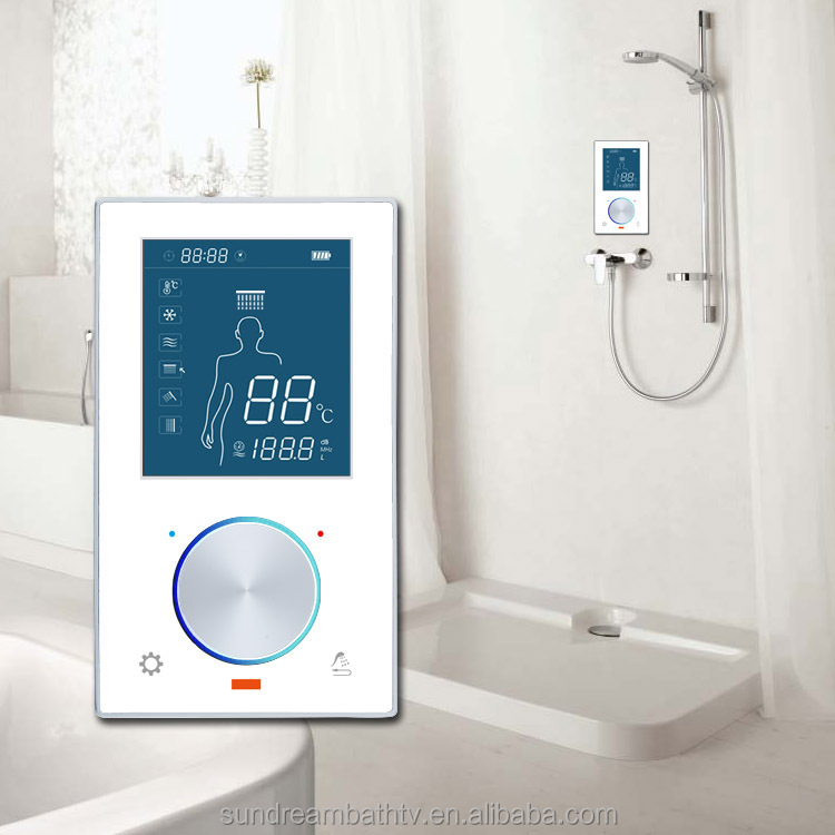 Thermostatic shower cubicle temperature controller panel for Home automation shower