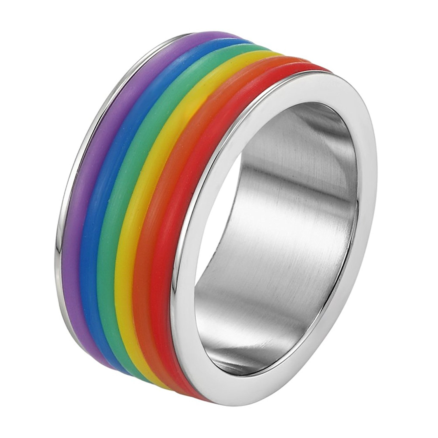 1pc Gay Pride Stainless Steel Rainbow Ring Band LGBT Colored Stripe Jewelry Gift