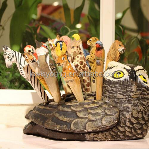 Handmade Art and craft Animal pen Wood carving