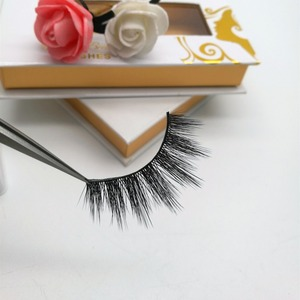 Korean PBT fiber soft 3D silk lashes private label and custom eyelash box  packaging