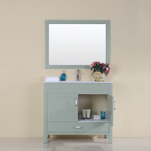 Floor Standing 2 Doors 1 Drawer Sink Cabinet Melamine Modern Vanity Bathroom With Mirror Basin