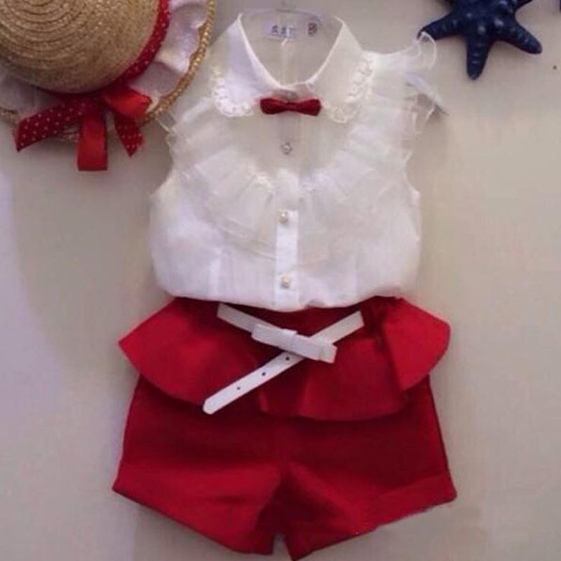 new 2015 Summer fashion Girl lace white blouses red shorts clothing set twinset