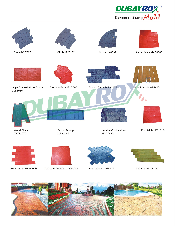 Polyurethan material dekorative beton stempel pflaster matte gummi impressum form roller