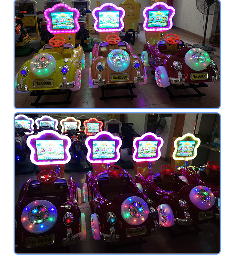 Kids muntautomaat paard swing machine 3D auto racing kiddy rides video game machines