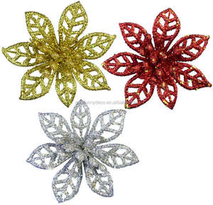 Beautiful Color Gold Glitter Powder Christmas Decoration Flowers Artificial Flowers