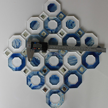 Wall Art Deco White + Blue + Silver Diamond Crystal Glass Mosaic ...