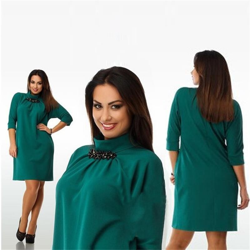 S31507A Fashionable casual women dresses new 2016 plus size women clothing winter office dress