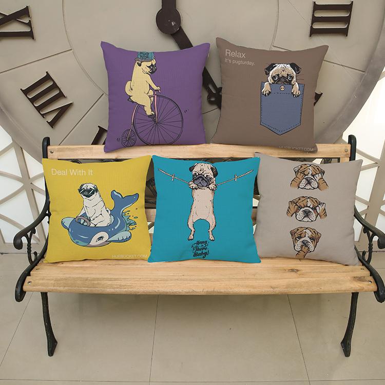 Cartoon cute pugs wall sticker 45*45cm  Pattern printing Luxury home Decorate outdoor Car sofa seat cushion cushions pillow
