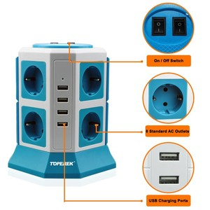 Power supplies, Surge protector tower strip, German standard 8 ways +4 USB outlets for home /office