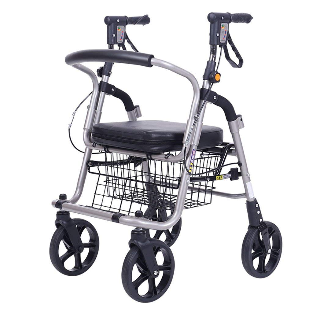 Shopping cart old shopping cart old cart shopping cart old man walking scooter four-wheeled folding lightweight wheelchair shopping cart (Color : Black, Size : 385680cm)