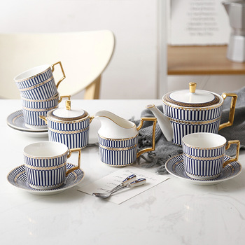 Blue classical design bone china coffee and tea cup sets Splendid English afternoon Coffee and Tea Set