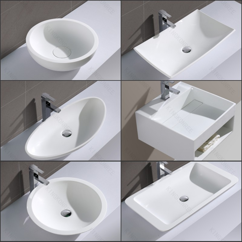 Australian Popular Resin Stone Long Narrow Bathroom Sink