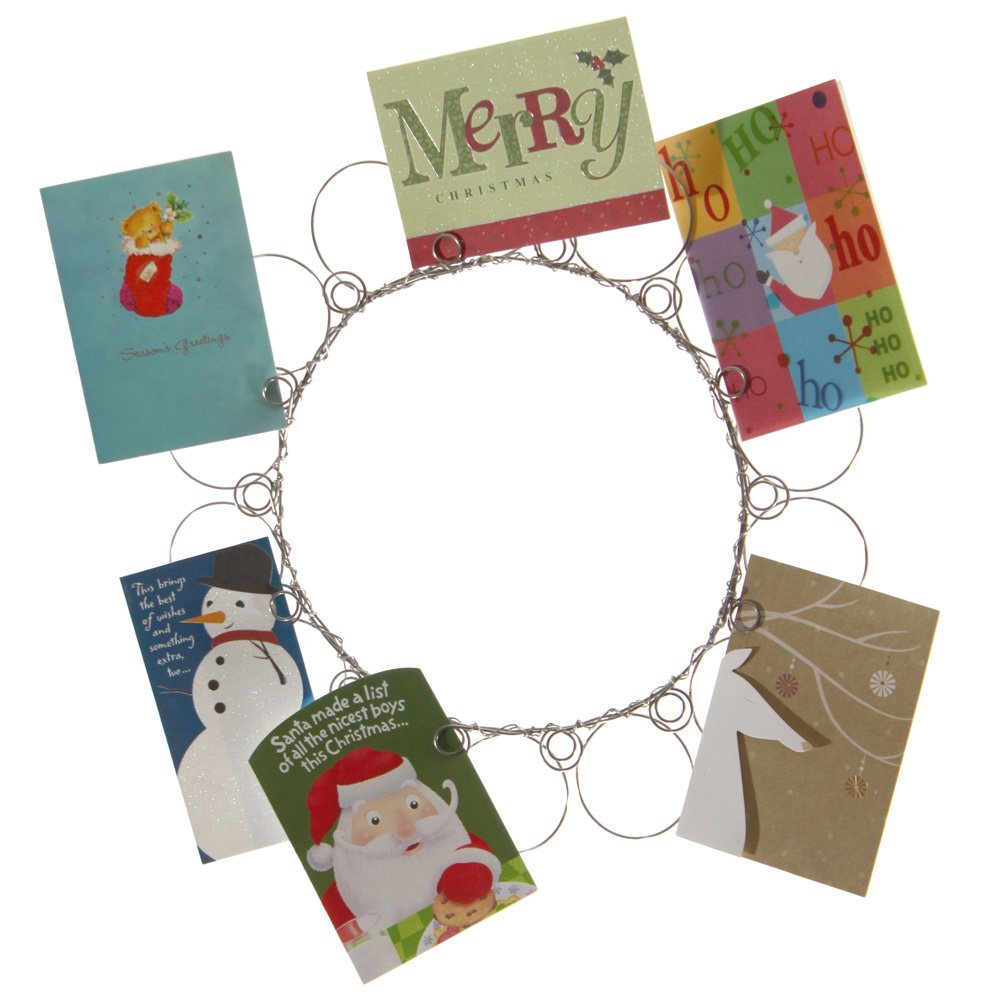 Christmas Wreath Card Holder, Christmas Card and Photo Holder, Wall Christmas Card and Picture Display for all Your Holiday Greetings, Perfect Gift , Holds 14 Cards