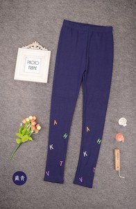 Cute Girls Navy Blue Embroidery Children Leggings