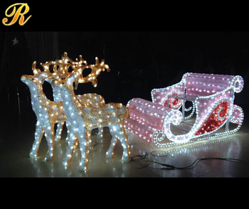 Outdoor Led Sleigh And Reindeer For Christmas Decoration