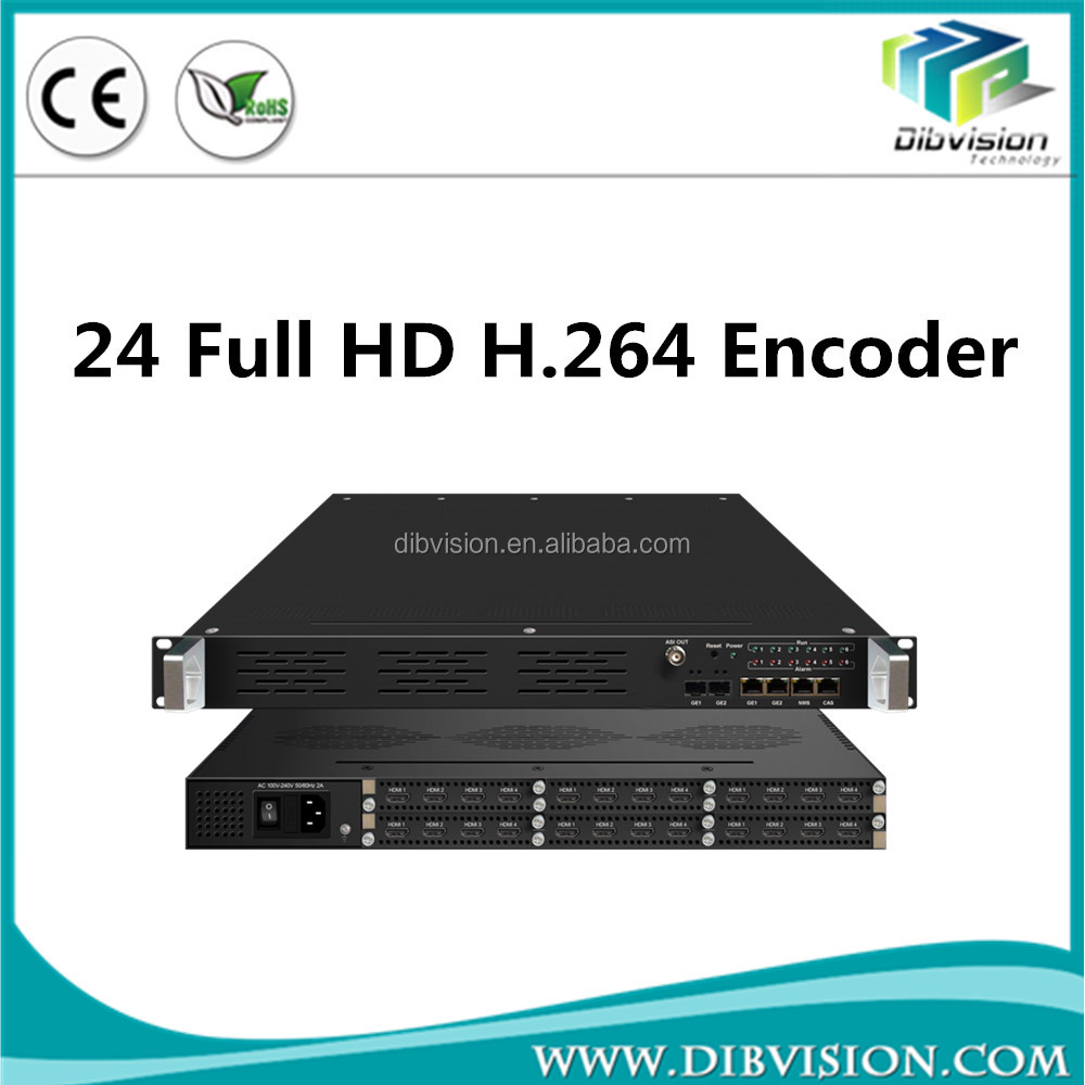 24 channels Full hd h264 iptv streaming encoder to software wowza transcode for iptv headend application