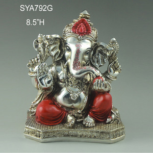 Silver plated resin ganesha murti statue for sale