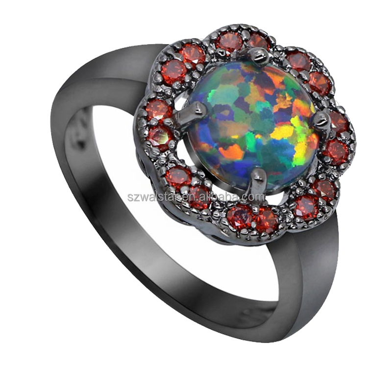 Top Quality Ocean Blue Fire Opal Ring Black Gold Filled Wedding Twist CZ Stone Ring