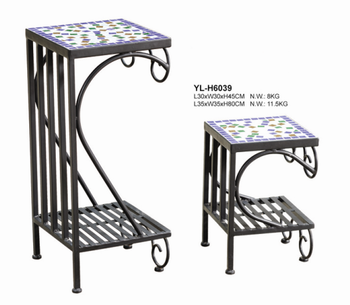 Yl-h6039 Square Blue Mosaic Tile Top Flower Plant Stand For Garden - Buy  Mosaic Ceramic Plant Stand,Garden Tables For Plants,Outdoor/garden Funiture  ...