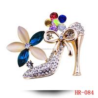 Crystal Shoes Brooch For Women 18K Gold Rhinestone Jewelry & Jewellery High-heel Brooch Pins